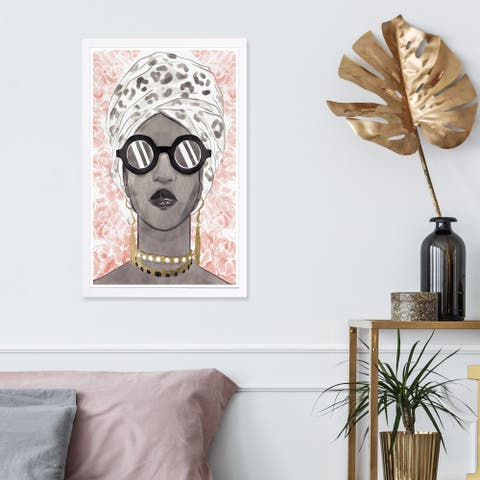 Wynwood Studio 'Spots and Shades' Fashion and Glam Framed Wall Art Print - Black, Pink