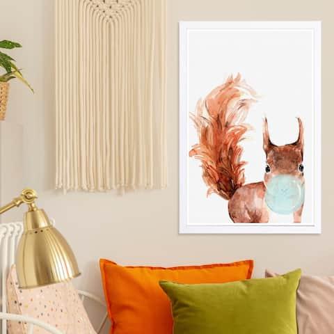 Wynwood Studio 'Squirrel Bubblegum' Animals Framed Wall Art Print - Blue, Brown - 13 x 19