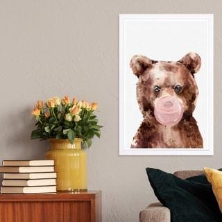 Wynwood Studio 'Brown Bear Bubblegum' Animals Framed Wall Art Print - Brown, White - 13 x 19