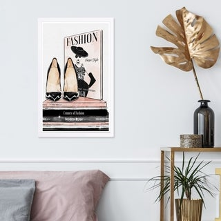 Wynwood Studio 'Fashion Magazine and Books' Fashion and Glam Framed Wall Art Print - Black, Pink - 13 x 19