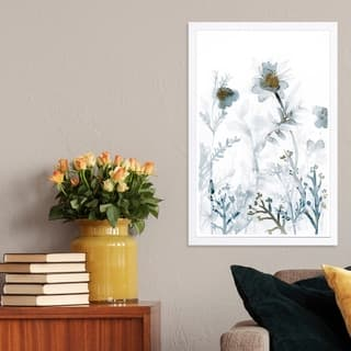 Wynwood Studio 'Faded Floral Splashes Gold' Floral and Botanical Framed Wall Art Print - White, Gray - 13 x 19