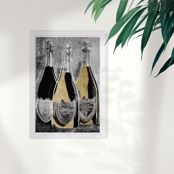 Wynwood Studio 'Dom Party For Three' Drinks and Spirits Framed Wall Art Print - Black, Gold. Opens flyout.