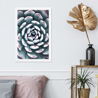 Wynwood Studio 'Light Succulent Close Up III' Floral and Botanical Framed Wall Art Print - Green, Pink - 13 x 19