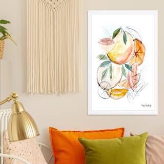 Wynwood Studio 'Hope Bainbridge - Floral fruit' Floral and Botanical Framed Wall Art Print - Orange, Green - 13 x 19