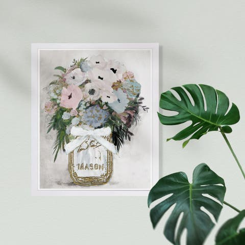 Wynwood Studio 'Anemone Mason Jar' Floral and Botanical Framed Wall Art Print - Gold, White