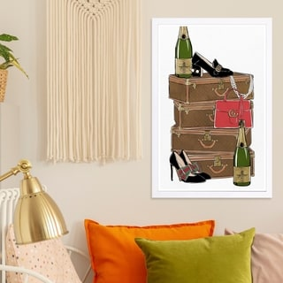 Wynwood Studio 'Traveling Party' Fashion and Glam Framed Wall Art Print - Brown, Black - 13 x 19