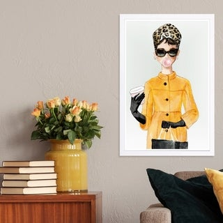 Wynwood Studio 'Charade in Yellow Coat' Fashion and Glam Framed Wall Art Print - Yellow, White - 13 x 19