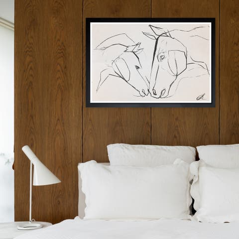 Wynwood Studio 'Mother And Colt II' Animals Framed Wall Art Print - Black, White - 19 x 13