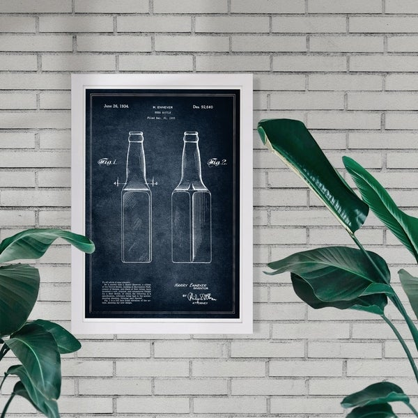 Wynwood Studio 'Design for a beer bottle 1934' Drinks and Spirits Framed Wall Art Print - Black, White - 13 x 19