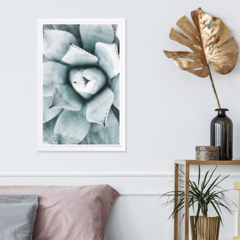 Wynwood Studio 'Light Succulent Close Up I' Floral and Botanical Framed Wall Art Print - Green, White - 13 x 19