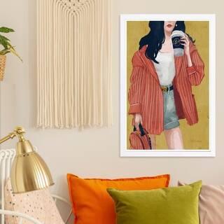 Wynwood Studio 'Terracotta Blazer' Fashion and Glam Framed Wall Art Print - Red, Gold - 13 x 19