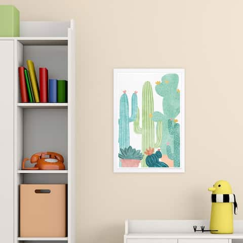 Wynwood Studio 'Cactus All Around' Floral and Botanical Framed Wall Art Print - Green, White