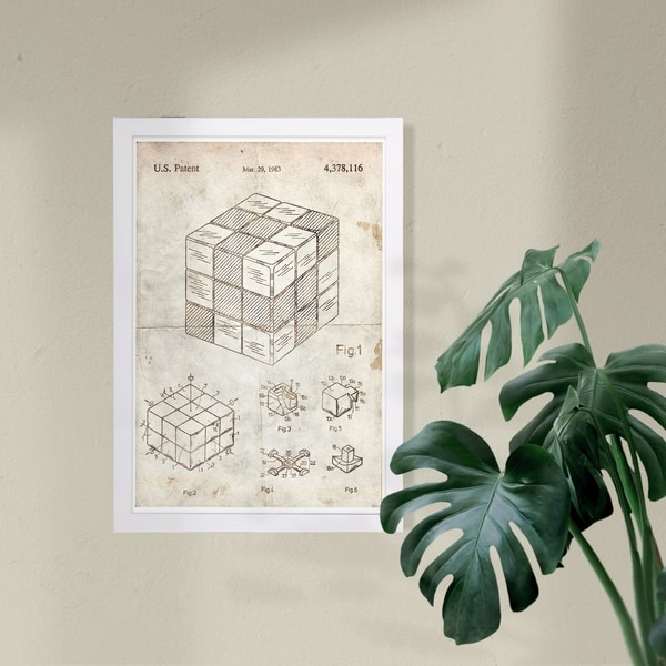 Wynwood Studio 'Spatial Logical Toy 1983 Parchment' Symbols and Objects Framed Wall Art Print - Brown, White - 13 x 19