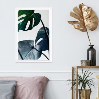 Wynwood Studio 'Leaves and Leaves' Floral and Botanical Framed Wall Art Print - Green, White - 13 x 19
