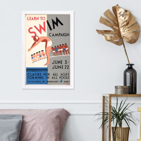 Wynwood Studio 'Learn To Swim Vintage' Sports and Teams Framed Wall Art Print - Blue, White - 13 x 19