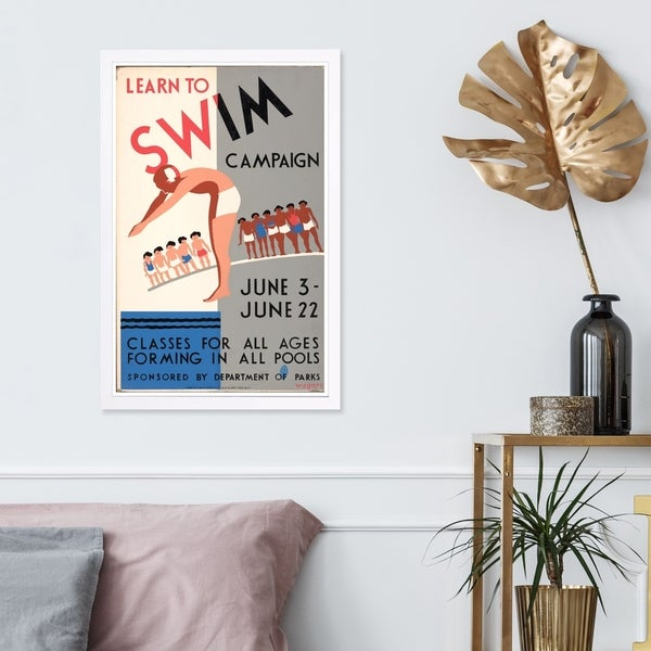 Wynwood Studio 'Learn To Swim Vintage' Sports and Teams Framed Wall Art Print - Blue, White - 13 x 19