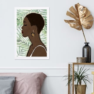 Wynwood Studio 'Tropical Queen' People and Portraits Framed Wall Art Print - Green, Brown - 13 x 19
