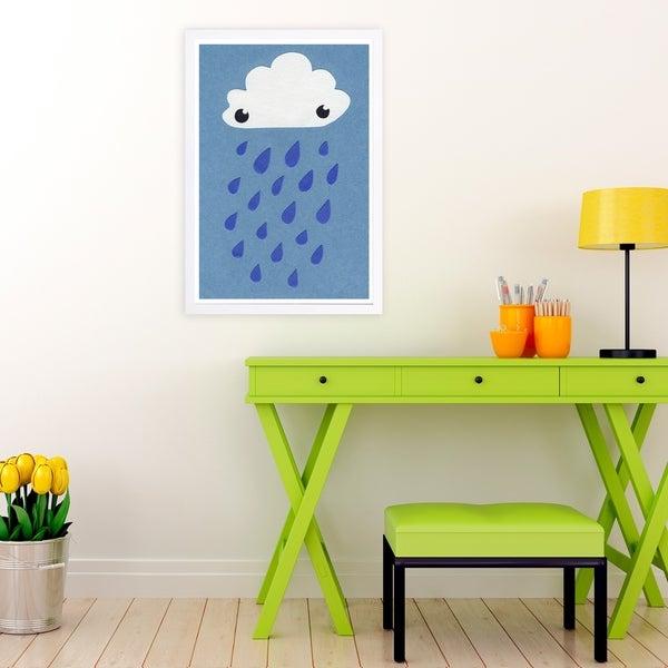 Wynwood Studio 'Rain' Nature and Landscape Framed Wall Art Print - Blue, White - 13 x 19