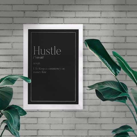 Wynwood Studio 'Hustle Typography I SILVER' Typography and Quotes Framed Wall Art Print - Black, Gray
