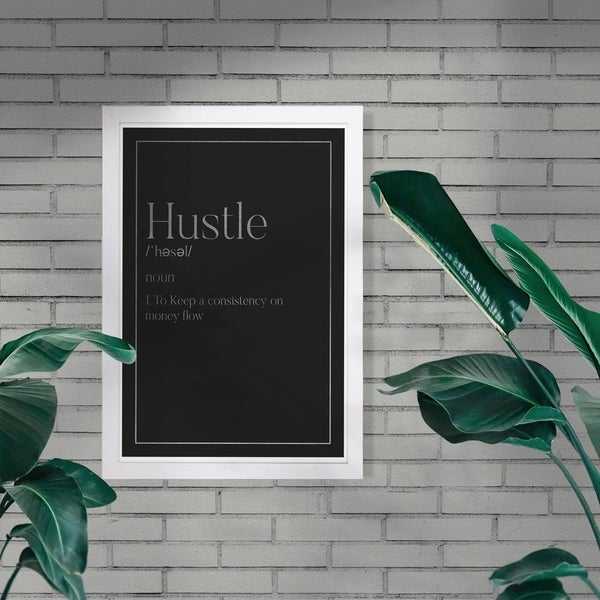 Wynwood Studio 'Hustle Typography I SILVER' Typography and Quotes Framed Wall Art Print - Black, Gray - 13 x 19