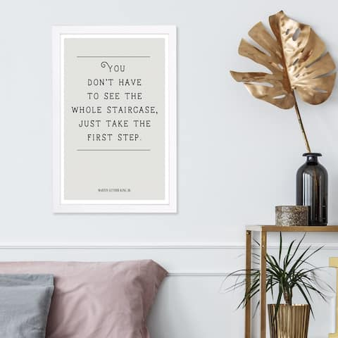 Wynwood Studio 'The First Step' Typography and Quotes Framed Wall Art Print - White, Black