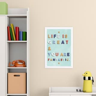 Wynwood Studio 'Life Is Great and Fantastic' Typography and Quotes Framed Wall Art Print - Blue, Yellow - 13 x 19