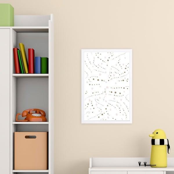 Wynwood Studio 'Stars and Glitter' Abstract Framed Wall Art Print - White, Gold - 13 x 19