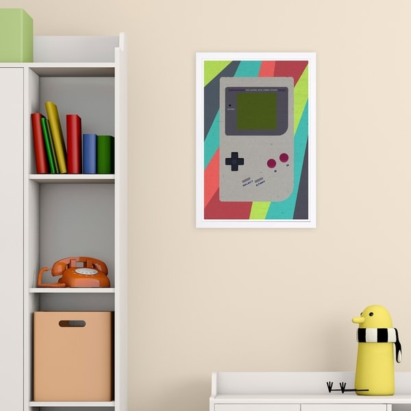 Wynwood Studio 'Play Device' Entertainment and Hobbies Framed Wall Art Print - Gray, Red - 13 x 19