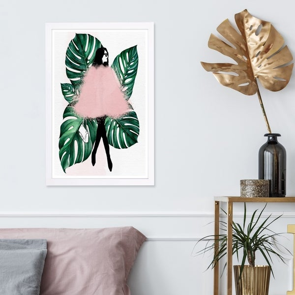 Wynwood Studio 'Among the Leaves' Fashion and Glam Framed Wall Art Print - Green, Pink - 13 x 19