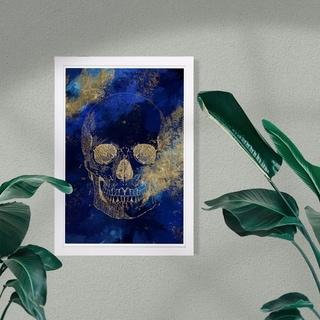 Wynwood Studio 'Gold Skull' Symbols and Objects Framed Wall Art Print - Gold, Blue - 13 x 19