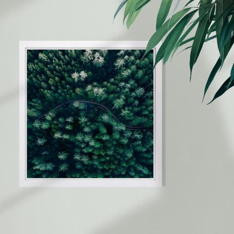 Wynwood Studio 'Breathe in The Forest Square' Nature and Landscape Framed Wall Art Print - Green, White - 13 x 13