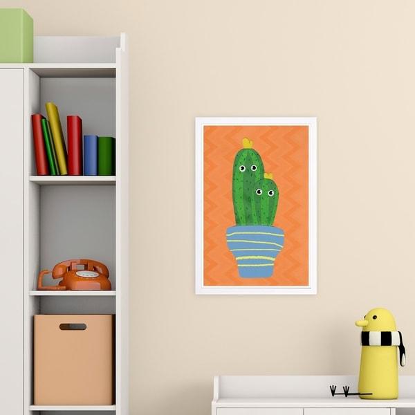 Wynwood Studio 'Stuck Together' Floral and Botanical Framed Wall Art Print - Orange, Green - 13 x 19