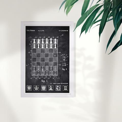 Wynwood Studio 'Chess Game and Method 2000 Chalkboard' Entertainment and Hobbies Framed Wall Art Print - Black, White