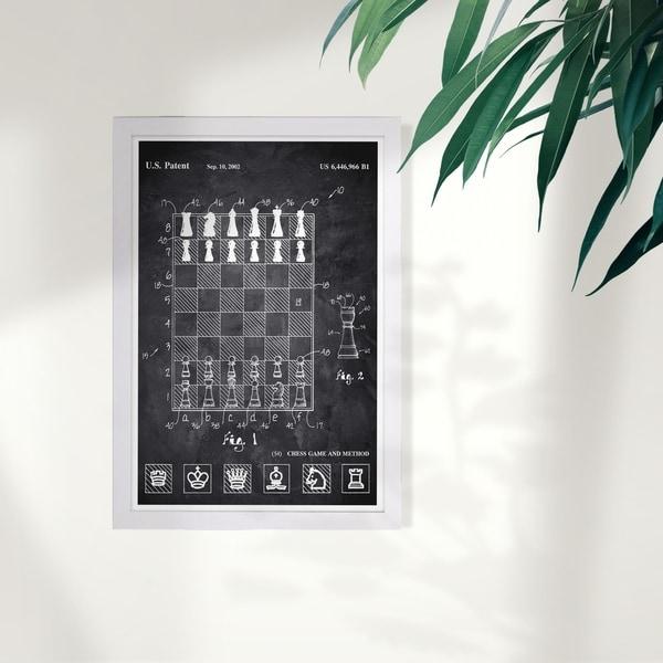 Wynwood Studio 'Chess Game and Method 2000 Chalkboard' Entertainment and Hobbies Framed Wall Art Print - Black, White - 13 x 19