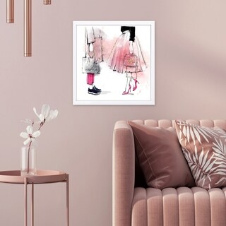 Wynwood Studio 'Coincident or Not' Fashion and Glam Framed Wall Art Print - Pink, White - 13 x 13