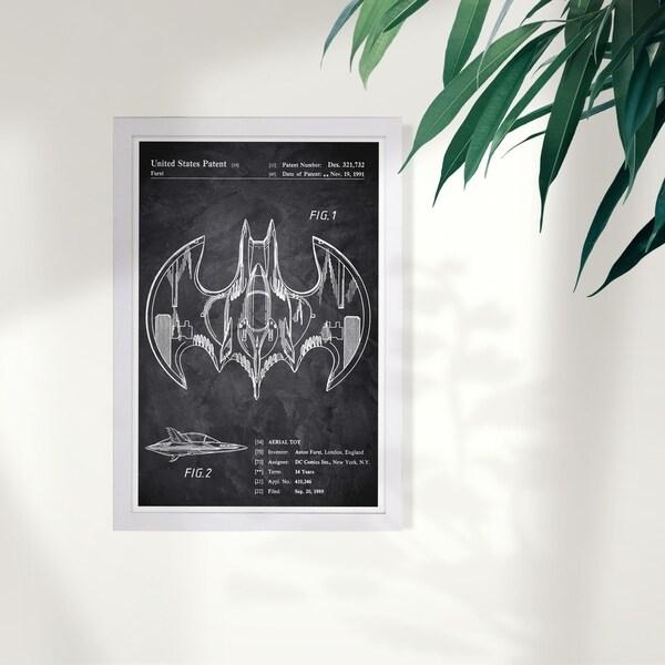 Wynwood Studio 'Aerial bat Toy 1991 Chalkboard' Movies and TV Framed Wall Art Print - Black, White - 13 x 19
