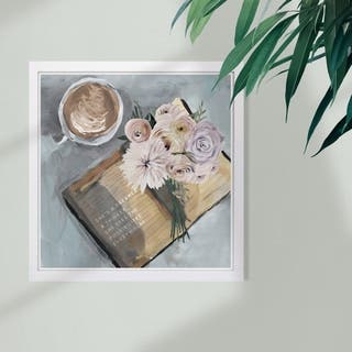Wynwood Studio 'Shes a Dreamer Floral Books' Fashion and Glam Framed Wall Art Print - Pink, Gray - 13 x 13