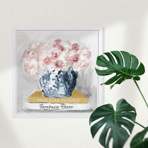 Wynwood Studio 'Farm House Charm Books' Floral and Botanical Framed Wall Art Print - Pink, White - 13 x 13