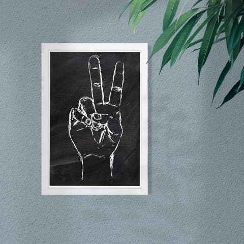 Wynwood Studio 'Peace Out' Symbols and Objects Framed Wall Art Print - Black, White