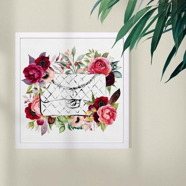 Wynwood Studio 'Purse in Bloom' Fashion and Glam Framed Wall Art Print - Red, Green - 13 x 13