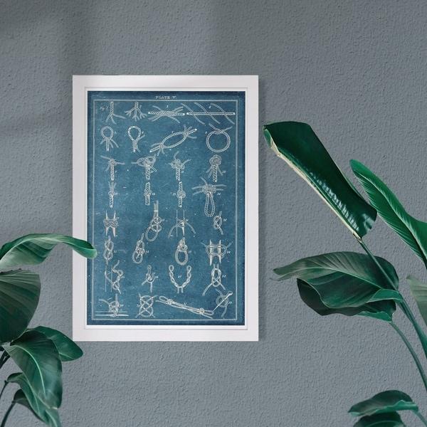 Wynwood Studio 'Nautical Knots' Nautical and Coastal Framed Wall Art Print - Blue, White - 13 x 19