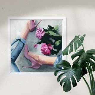 Wynwood Studio 'Jeans and Heels' Fashion and Glam Framed Wall Art Print - Pink, Blue - 13 x 13