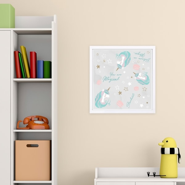 Wynwood Studio 'Believe In Magic Pattern' Fantasy and Sci-Fi Framed Wall Art Print - Blue, Pink - 13 x 13