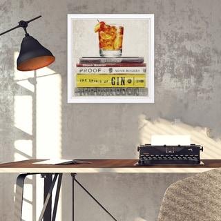 Wynwood Studio 'Bar Books' Drinks and Spirits Framed Wall Art Print - Brown, Orange - 13 x 13