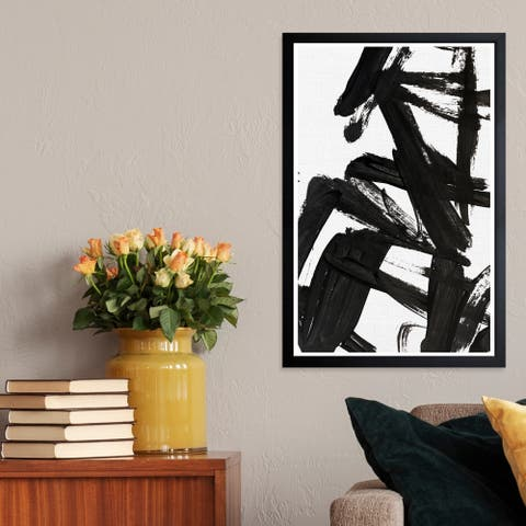 Wynwood Studio 'Mindful Always' Abstract Framed Wall Art Print - Black, White - 13 x 19