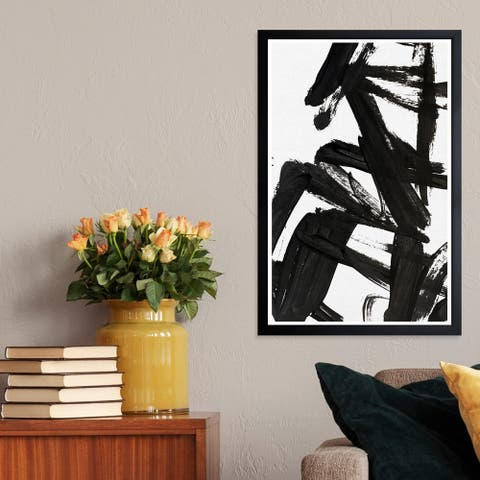 Wynwood Studio 'Mindful Always' Abstract Framed Wall Art Print - Black, White