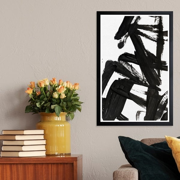 Wynwood Studio 'Mindful Always' Abstract Framed Wall Art Print - Black, White. Opens flyout.