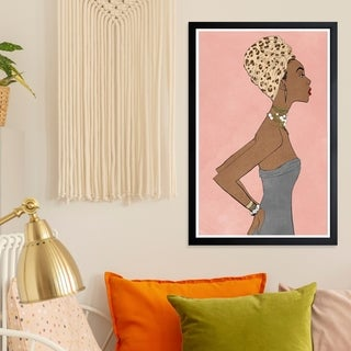 Wynwood Studio 'Prowess Queen Blush' Fashion and Glam Framed Wall Art Print - Pink, Brown - 13 x 19