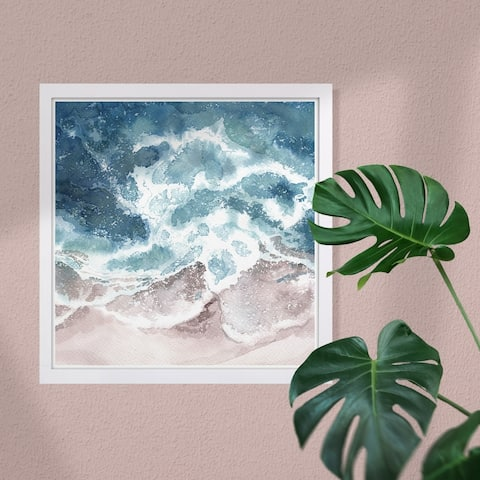 Wynwood Studio 'Seaside Waves' Nautical and Coastal Framed Wall Art Print - Blue, Brown