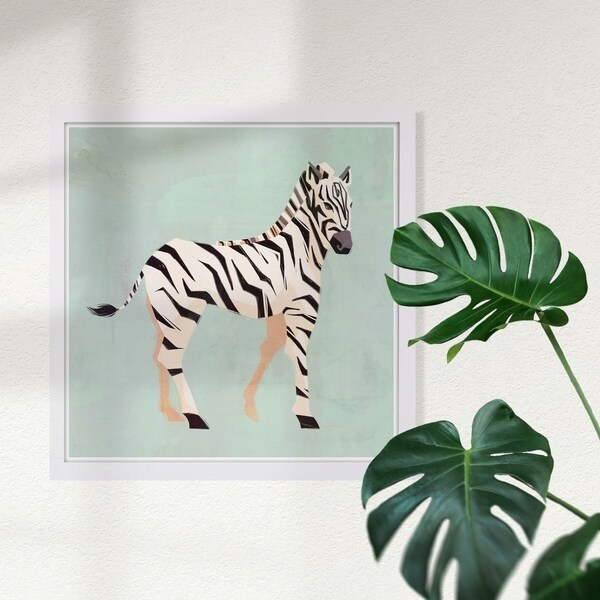 Wynwood Studio 'Zebra Trot' Animals Framed Wall Art Print - Green, White - 13 x 13
